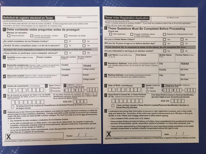 voter reg card front